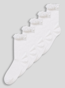 White Broderie Ankle Socks 5 Pack (3 infant - 5.5 adult)