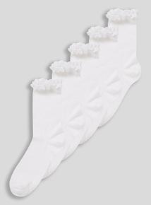White Broderie Ankle Socks 5 Pack