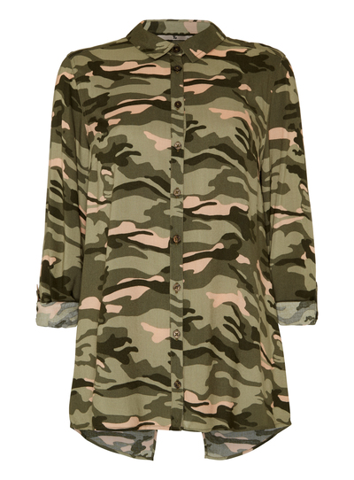 women 39 s shirts and blouses khaki camouflage print split back shirt. Black Bedroom Furniture Sets. Home Design Ideas