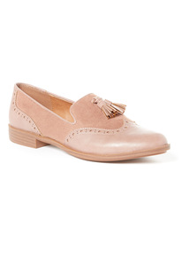 Pink Almond Toe Brogue Loafers