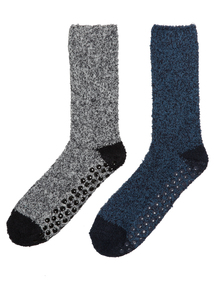 Blue & Navy Super Soft Slipper Socks 2 Pack