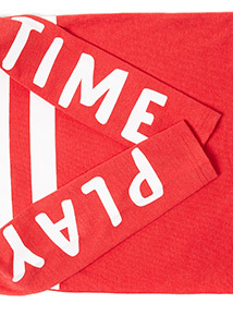 Red Play Time Sleeve Print Top (9 months-6 years)