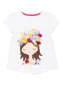 White Print Flower Applique Top (9 months-6 years)