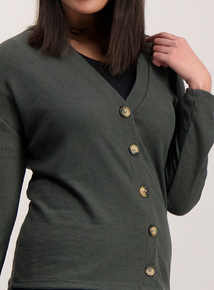 Green Ribbed Cardigan