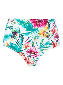 Floral Print High Waisted Bikini Briefs