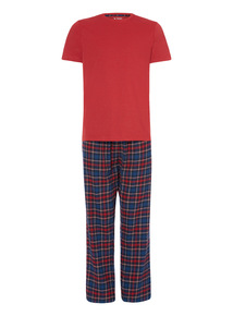 Red Short T-Shirt With Trousers PJ Set