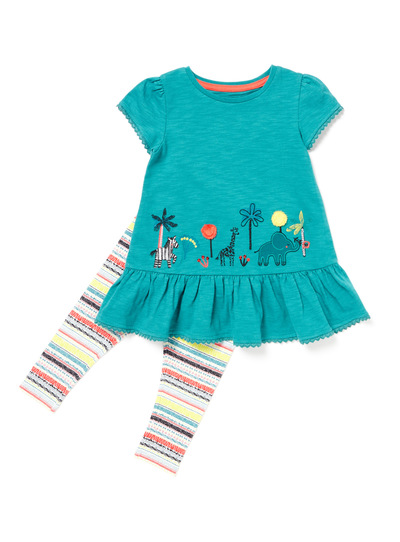 Multicoloured Safari Animal Embroidered T-Shirt and Leggings Set (9 months-6years)