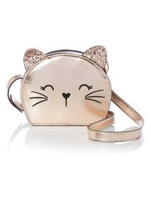 Bronze Metallic Cat Cross Body Bag
