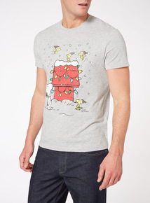 Grey Christmas Snoopy Tee