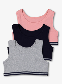 Multicoloured Ribbed Crop Tops 3 Pack (5-14 Years)