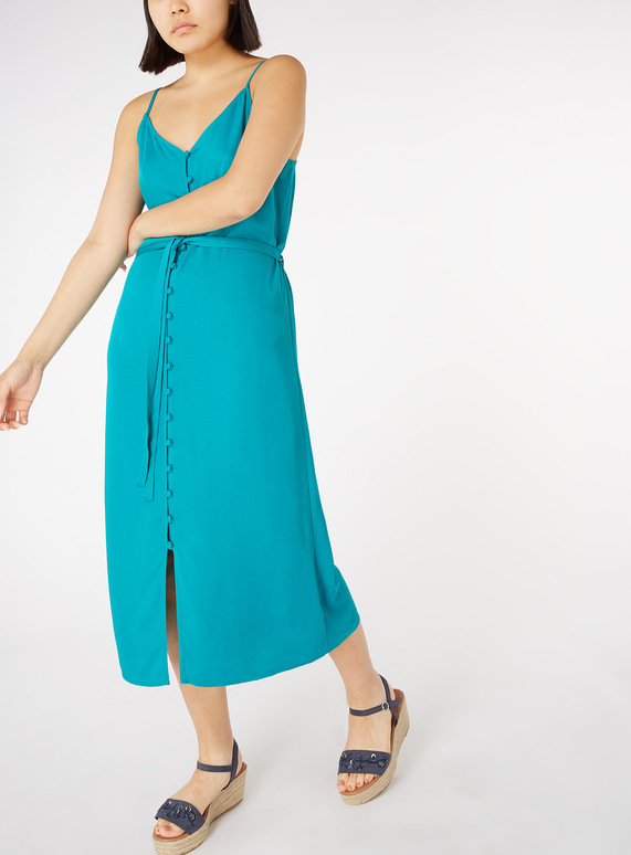 Online Exclusive Teal Buttoned Cami Dress