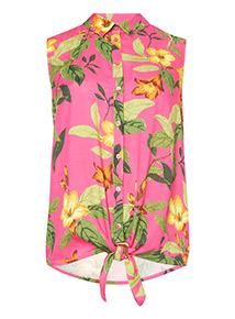 Floral Print Tie Front Shirt