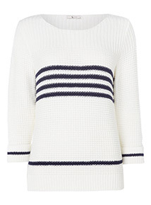 Turn Up Sleeved Stripe Knitted Jumper