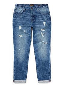 Blue Wash Rip and Repair Slim Fit Jeans