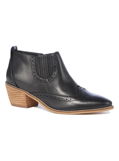 Premium Black Leather Western Ankle Boots