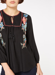 Black Floral Embroidered Blouse
