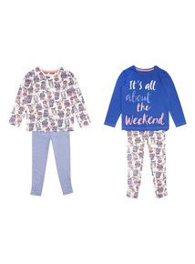 Purple Two Pack Weekend Owl Pyjama Set (4-14 years)