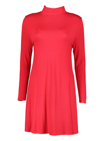 Red Jersey Swing Dress