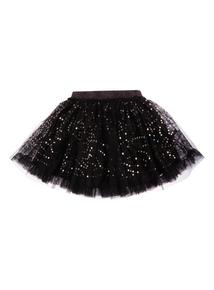 Girls Black Net Sequin Skirt (3-12 years)