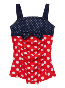 Red and Navy Spot 50's Swimsuit (3-12 years)