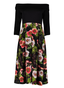 Online Exclusive Multicoloured Floral Bardot Dress