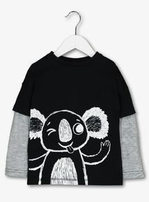 Black Koala Overlay Long Sleeved T-Shirt (9 months-6 years)