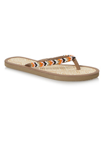 Beaded Seagrass Toe Post Sandal
