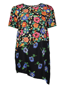 Multicoloured Floral Print Longline Top