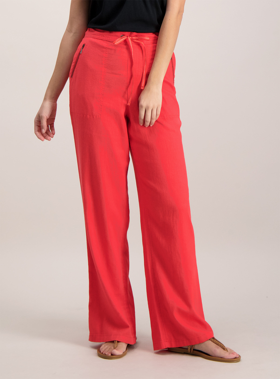 Womens Coral Pink Linen Trousers Tu Clothing