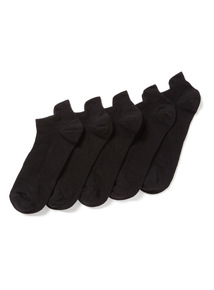 5 Pack Black Blister Resist Trainer Socks