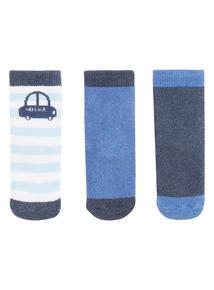 Boys Blue Car Terry Socks 3 Pack (0-24 months)