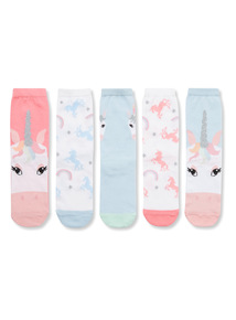 5 Pack Multicoloured Unicorn Socks
