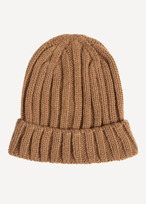 Camel Cable Knit Beanie Hat