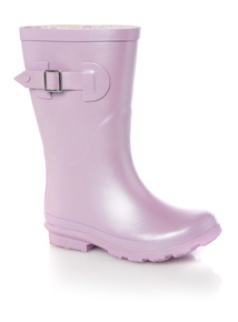 Girls Purple Metallic Welly