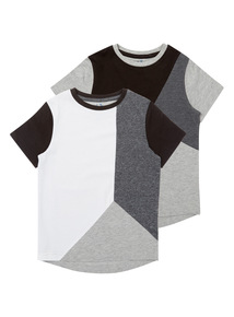 Boys Grey Cut And Sew Tops (3-14 years) 2 Pack
