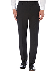 Black Slim Fit Wool Suit Trousers
