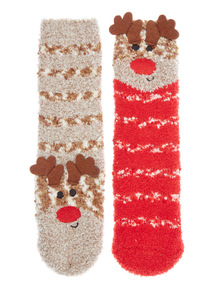 Brown Two Pack Reindeer Cosy Socks