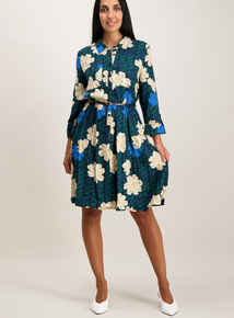 Multicoloured Floral Print Shirt Dress