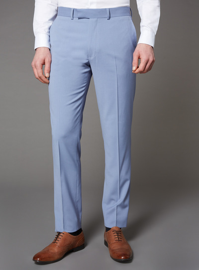 Pastel Blue Slim Fit Trousers With Stretch