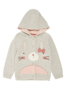 Grey Knitted Bunny Cardigan (0-24 months)