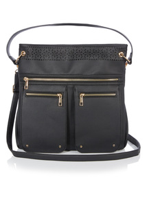 Black Laser Cut Detail Crossbody Bag