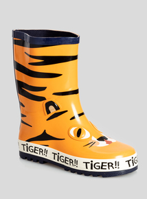 Orange Tiger Novelty Wellies (4 Infant - 12 Child)