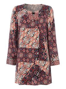 Multicoloured Patchwork Tunic Dress