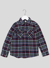 Navy Check Brushed Cotton Shirt ( 9 months - 6 years)