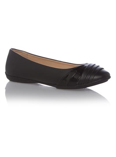 Kids Girls Black Leather Ballerina School Shoes  36e445985