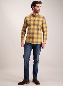 Mustard Ombre Check Regular Fit Shirt