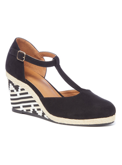 Black T-Bar Espadrille Wedged Shoe