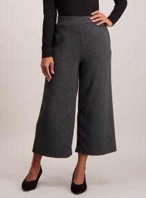 Grey Wide Leg Pinstripe Culottes
