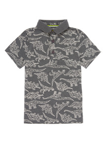 Grey Dinosaur Polo Shirt (3 -12 Years)