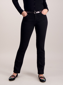 Black Belted Straight Leg Jeans